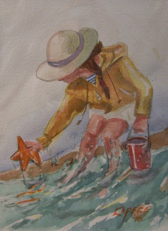 Shore Line Surprise,11 x 14 Original Watercolor,White Mat,ONE OF A KIND,Not A Print,Free Shipping Code SKYE2