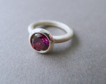 Sunray Pink Lollipop Ring, Bridesmaid Gift, Sterling Silver, Gemstone Ring, Modern Ring, Statement Ring, Brushed Ring, Round Ring, Bright