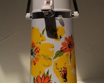 Vintage Viking Air Pump Beverage Dispenser, Yelow and Orange Flowers, 1970s
