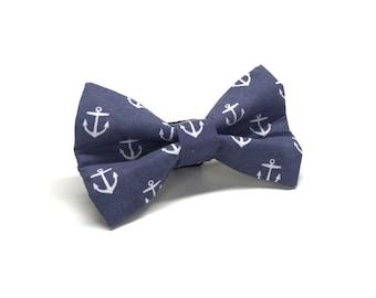 Navy Anchor Nautical Dog Bow Tie