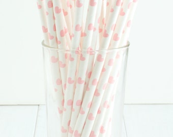 25 Light Pink Heart Paper Straws- Straws feature Light Pink Hearts on a White Background- Great for a Valentine's Day party!