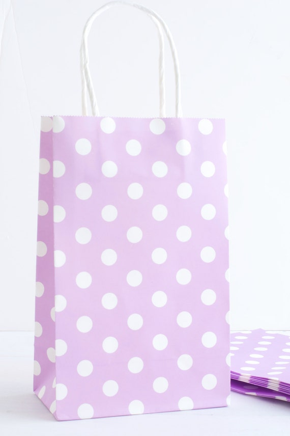 Lavender Polka Dot Paper Bags With Handles Birthday Party