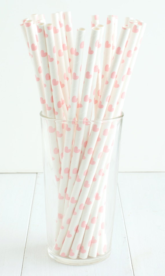 heart on a paper straw 25 light pink paper straws straws feature light pink 6703