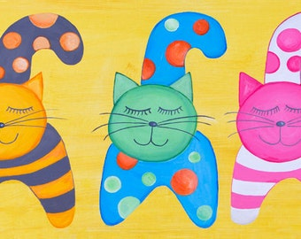 Cats print - Art print - Canvas art - Kitty cat nursery - Colorful playroom print - Large nursery wall art - Baby room decor - Animal print