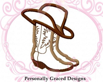 Instant Download Cowboy Boots with Cowboy Hat Applique Embroidery Design 4 Sizes, 3in, 4in, 5in, 6in, Boots Applique, 4x4, 5x7 and 6x10
