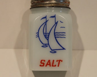 McKee Glass Co. Shaker - Milk Glass Salt Shaker - Sailboat Shaker - Vintage Shaker