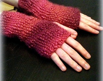 Pink Fingerless Gloves, Women Fashion Accessories, Ladies Small Mittens, Purple Wrist Warmers Arm Warmers, One of a Kind