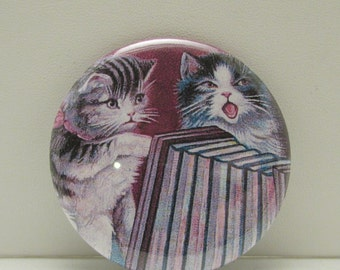 Pocket Mirror, Purse Mirror, Cosmetic Mirror, Cat Pocket Mirror, Glass Mirror, Two Kittens, Singing Kittens, Two Cats, Singing Cats