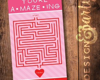Valentine's Day Cards // A • Maze• Ing Classroom Valentine's Card //  DIY Printable // Digital File