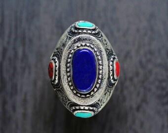 Kuchi lapis lazuli Ring,Afghan Ring,Gypsy Ring,Coral Ring,Multi-stone Ring,Afghan vintage Ring,Hippie Ring,Afghan jewelry,Free shipping