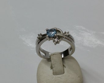 17.8 mm ring Silver 925 with crystals SR455
