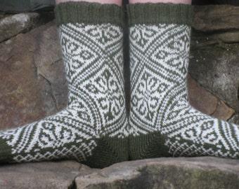 Hand Knit Socks, Merino Wool, Byzantine, Fair Isle - Green, White, womens 7, 8, Norwegian, Scandinavian, fairisle