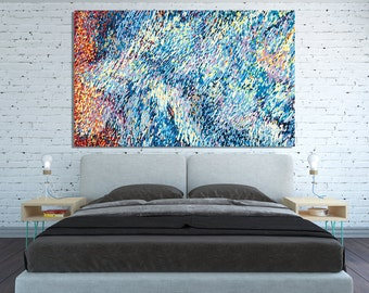 CANVAS PRINT Oversized Extra Large Abstract Blue Wall Art Horizontal Abstract Impressionist Painting Huge wall art absctract blue wall art