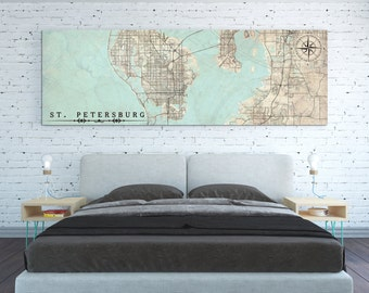 ST. PETERSBURG FL Canvas Print Florida St Petersburg Vintage map long City Horizontal Panoramic Wall Art large Oversized poster antique map