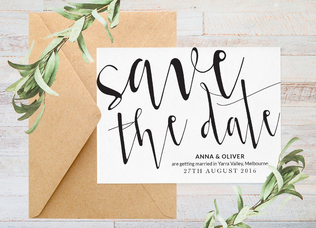 Save the date, Printable save the date, Black and white save the date, Modern save the date, Minimalist save the date, Script font, Wedding