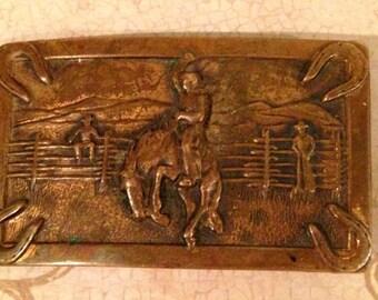 Vintage Western Horse Belt Buckle, Vintage Copper Bucking Bronco Belt Buckle, Western Belt Buckle, Country Western Buckle