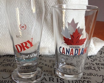 Vintage Molsons Barware Duo: 1 Molson Canadian pint glass w/etched logo + 1 Molson Special Dry pilsener glass w/etched logo.  MINT!