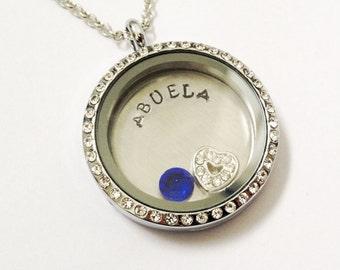 ABUELA - Floating Charm Locket - Memory Locket - Custom Hand Stamped Gift for Mom or Grandma