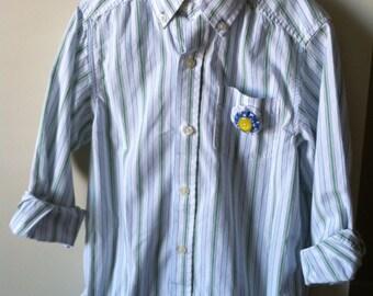 Girls Ruffle Hem Button Down Shirt/ Dress