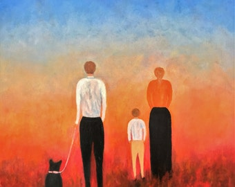 "Walking Through Fire - family in distress looking for better future.  Width 28"" Height 34"". Framed. Large, abstract oil-on-canvas"