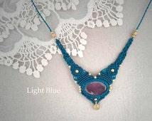 Magic STONE in MACRAME necklace,special talisman, brass necklace, boho jewelry, tribal jewelry, yoga talisman, agate talisman, gipsy