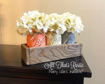 Rustic Home Decor, Mason Jar Centerpiece with Pint Jars, Painted Mason Jars, Rustic Box, Housewarming Gift, Wedding  Decor, Mason Jar Decor
