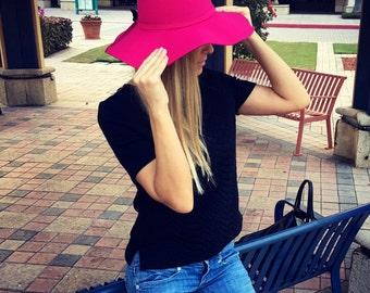 Floppy Hat, Fedora Hat, Fedora, Wide Brim Hat, Large Brimmed Hat, Women Floppy Hat, Fall Hat, Pink Hat, Elegant Hat, Gift for Her, Sunhat