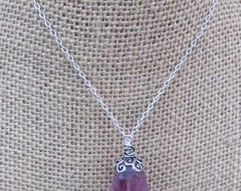 Amethyst Necklace - Amethyst pendant - Amethyst and silver oxidized - Purple Gemstone -
