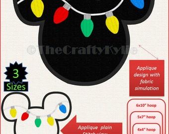 Disney Mickey Christmas Lights Machine Embroidery Applique Designs 4x4 5x7 6x10 hoop