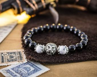 8mm - Black onyx and white howlite stone beaded silver Lion stretchy bracelet, custom made beaded bracelet, womens bracelet, mens bracelet