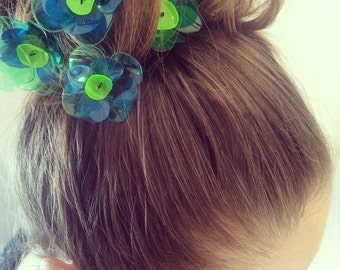 Flower Hair Pins, 5 pcs. Bridal Hair Accessories, Green Flower Hair Pins, PET bottle Jewelry, Wedding by ENNA