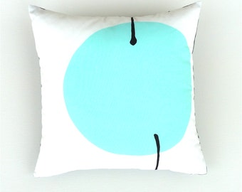 Turquoise, Black and White Geometric Marimekko  Cushion / Pillow Cover. 42 / 42 cm.