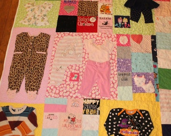 Babys first year quilt, Baby memory quilt, baby clothes quilt, quilt made from baby clothes, Memory quilt, remembrance quilt,Appliqued quilt