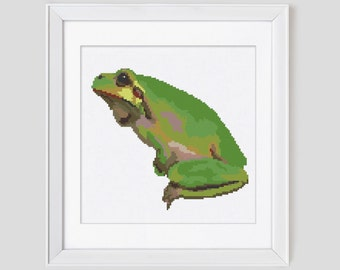 Frog cross stitch pattern, frog counted cross stitch pattern, frog modern cross stitch pattern, frog cross stitch pdf pattern