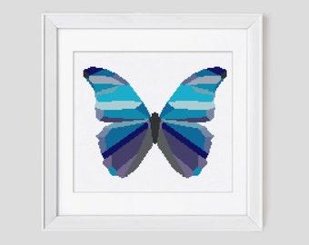 Modern cross stitch pattern, butterfly cross stitch pattern, butterfly counted cross stitch pattern, butterfly cross stitch pdf pattern