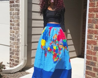 Global Passport Map Skirt (XS - 6XL) Midi or Maxi