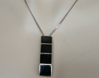 Southwestern Sterling silver Black Onyx Pendant Necklace with Sterling silver chain