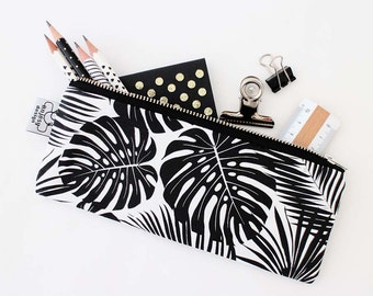 Tropical pencil case/Tropical black and white pencil pouch/Original ANJESY Designs.