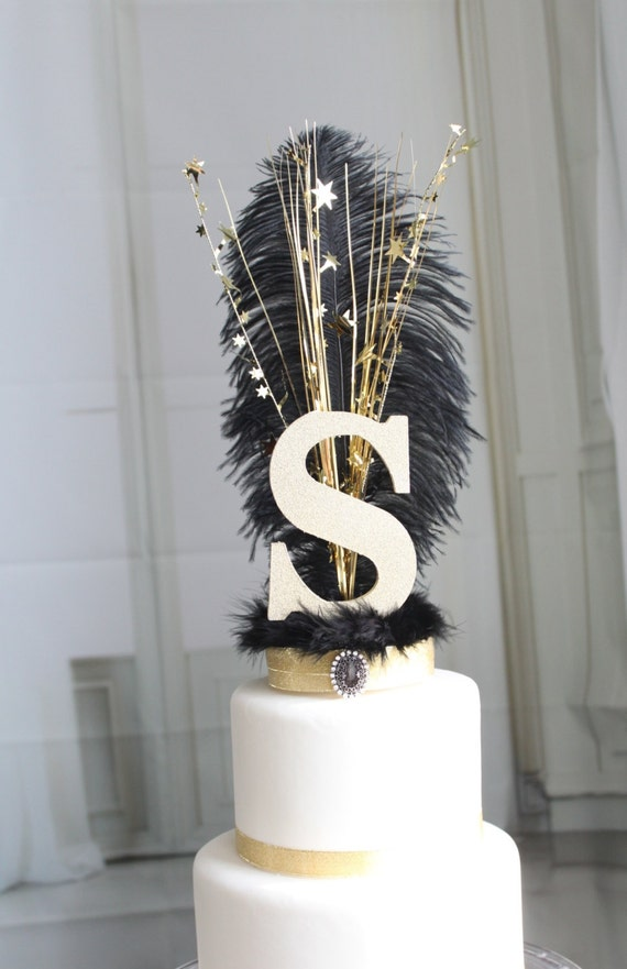 feather wedding cake toppers initial or letter gatsby black and gold feather cake topper 14222