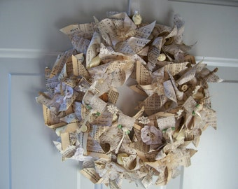 OOAK Romantic Love Lacey Hymnal Pinwheel Paper Wreathw/tag&free ship til 2/14!