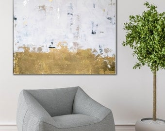 Gold foil, gold leaf, acrylic painting, large gold art, modern gold art, contemporary art, gold foil painting, gold leaf art, gold chic art