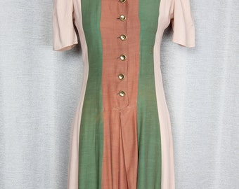 Adorable 1940's Color Blocked Rayon Dress