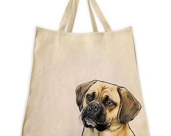 Canvas Tote Bag, Pet Tote Bag, Fawn Puggle, Portrait, Gifts for Dog Lovers, Cotton Shopping Handbag, Cute Custom Bags, Made by Tote Tails