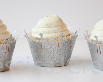 Cross Cupcake Wrapper - Silver Cupcake Wrappers - Glitter Cupcake Wrappers  - Baptism - Christening - First Communion - Holy Communion