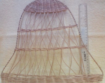 Bell, Fiber-15 inches wide, 14 inches tall, Outer wire frame, Natural fiber.  Vintage