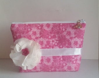 Pink White Clutch, Pink and White Pouch, Zippered Pouch, Zippered Clutch
