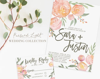 5x7 Wedding Invitation & Coordinating 4x5 RSVP