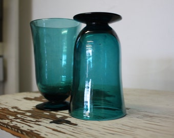 Set of 2 Blue Blown Glass Tumblers