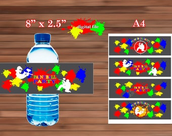 Paintball Water Bottle Labels, Paintball Party favor, PDF, Instant Download