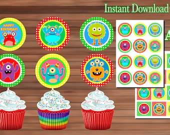 Monster cupcake toppers - Monster Birthday Party decoration-Printable - Instant Download - PDF
